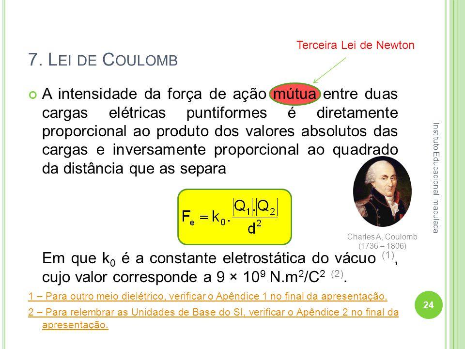 7. Lei de Coulomb Terceira Lei de Newton.