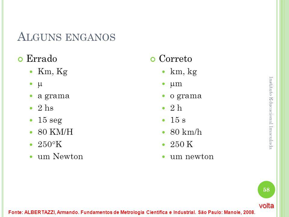 Alguns enganos Errado Correto Km, Kg  a grama 2 hs 15 seg 80 KM/H