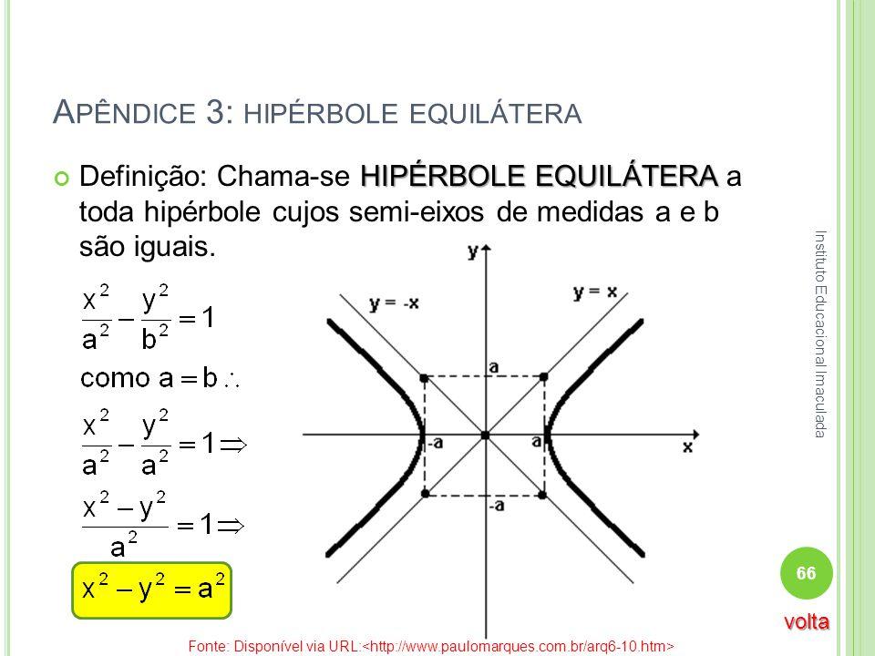 Apêndice 3: hipérbole equilátera