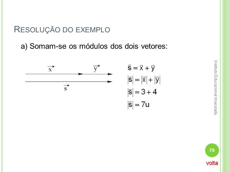 Resolução do exemplo a) Somam-se os módulos dos dois vetores: volta