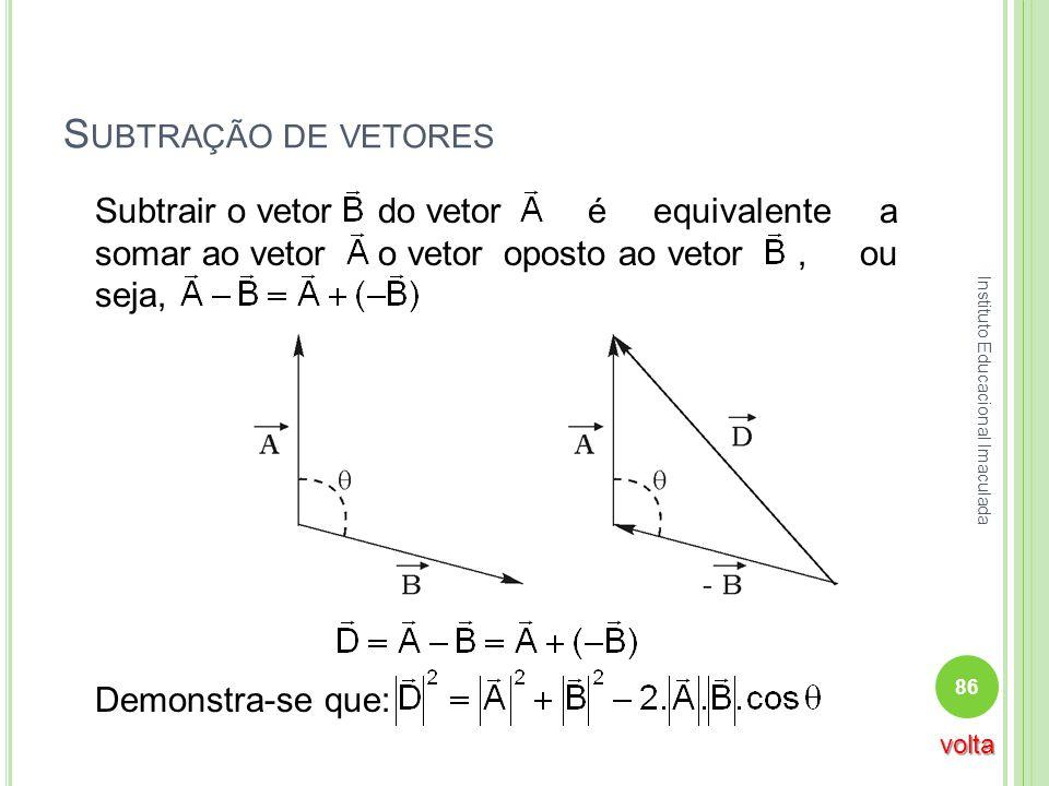 Subtração de vetores Subtrair o vetor do vetor é equivalente a somar ao vetor o vetor oposto ao vetor , ou seja,