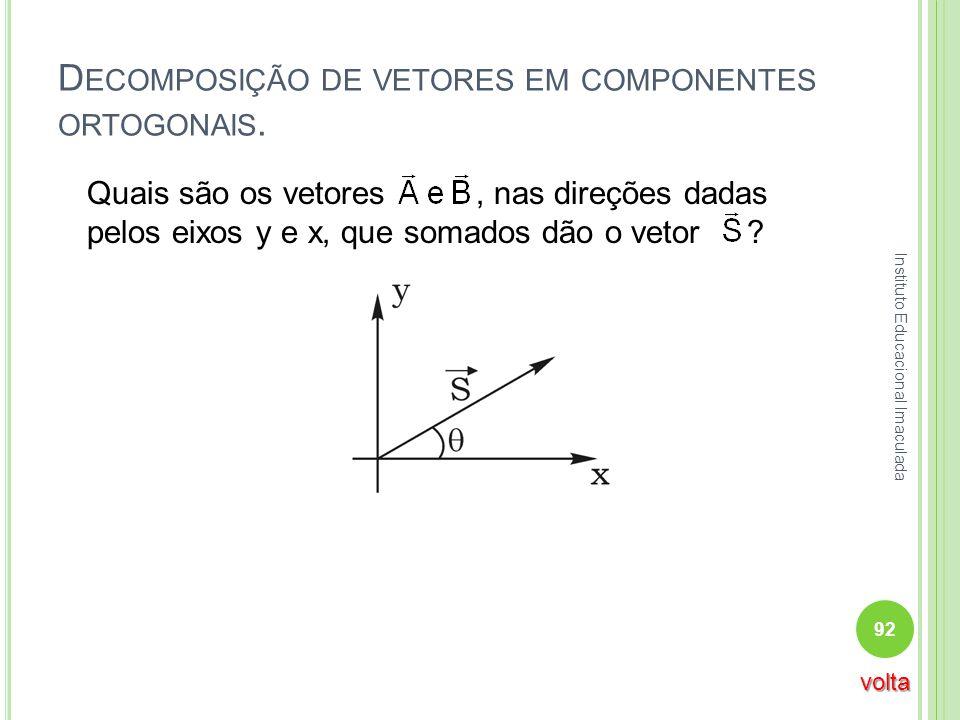 Decomposição de vetores em componentes ortogonais.