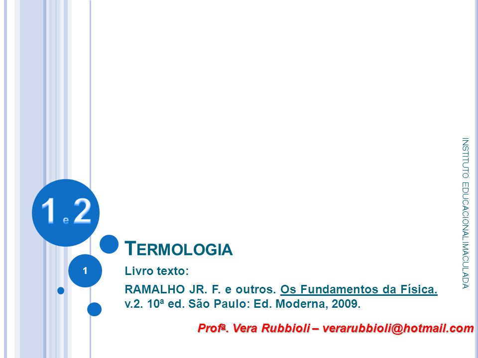 1 e 2 Termologia Livro texto: