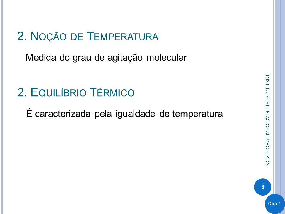 2. Noção de Temperatura 2. Equilíbrio Térmico