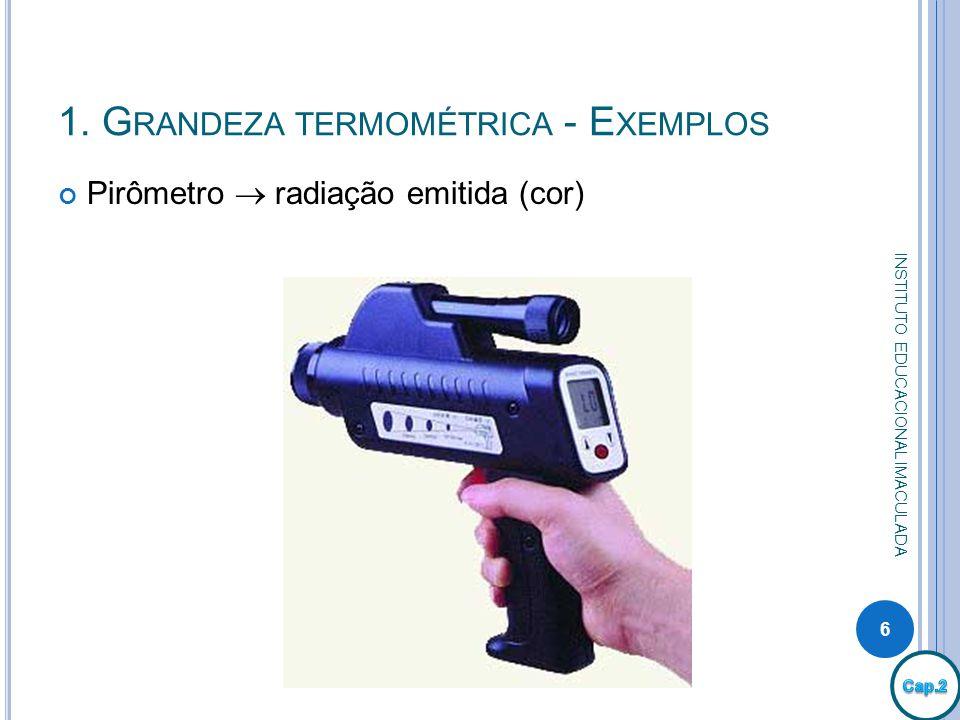 1. Grandeza termométrica - Exemplos
