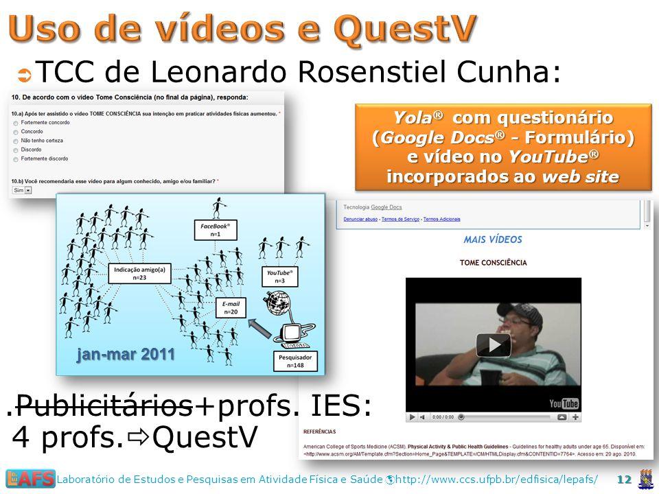 Uso de vídeos e QuestV TCC de Leonardo Rosenstiel Cunha: