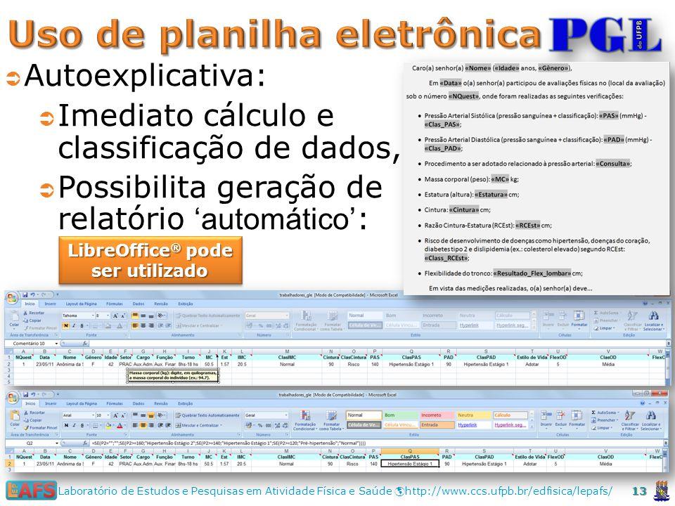 Uso de planilha eletrônica