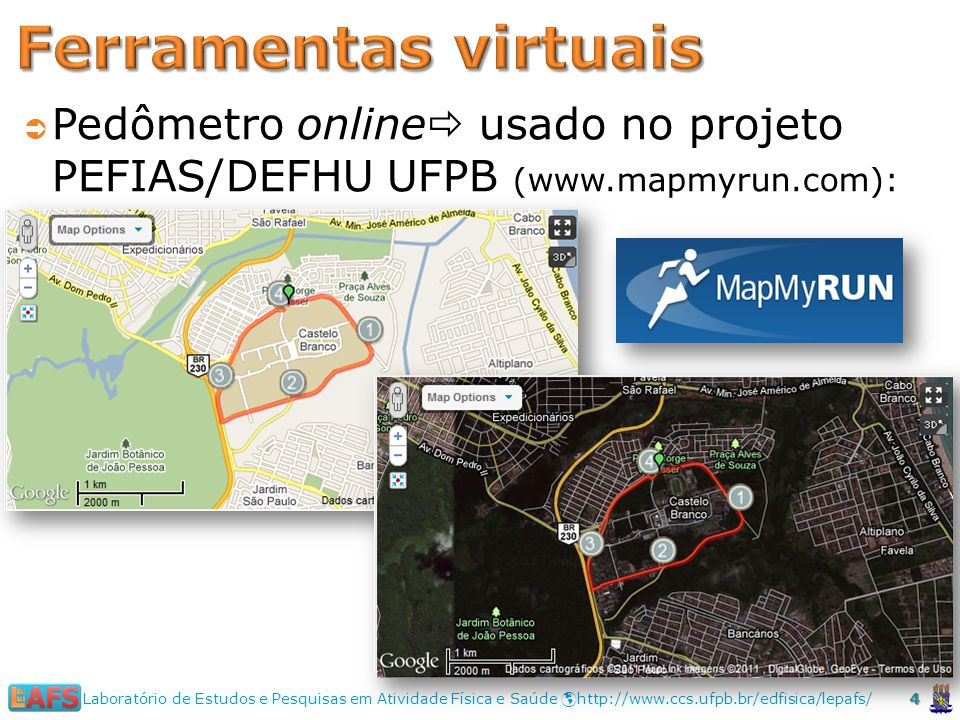 Ferramentas virtuais Pedômetro online usado no projeto PEFIAS/DEFHU UFPB (www.mapmyrun.com):