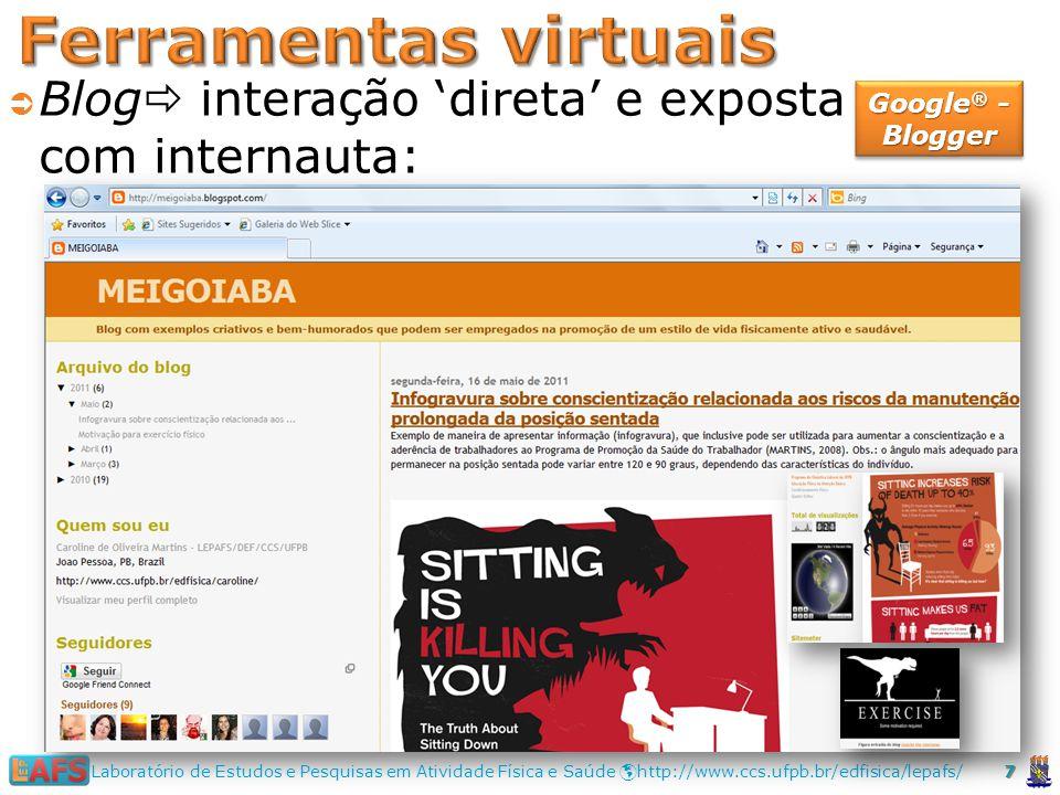 Ferramentas virtuais Blog interação 'direta' e exposta com internauta: Google® - Blogger.