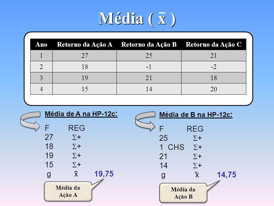 Média ( x ) F REG F REG 27 S+ 25 S+ 18 S+ 1 CHS S+ 19 S+ 21 S+ 15 S+