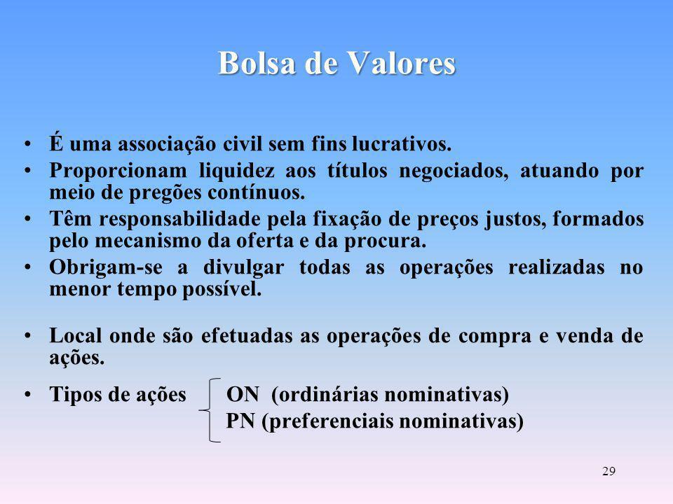 Bolsa de Valores É uma associação civil sem fins lucrativos.