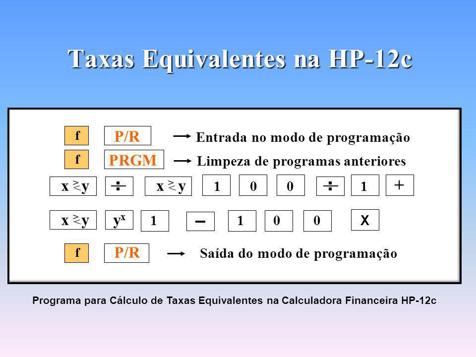 Taxas Equivalentes na HP-12c