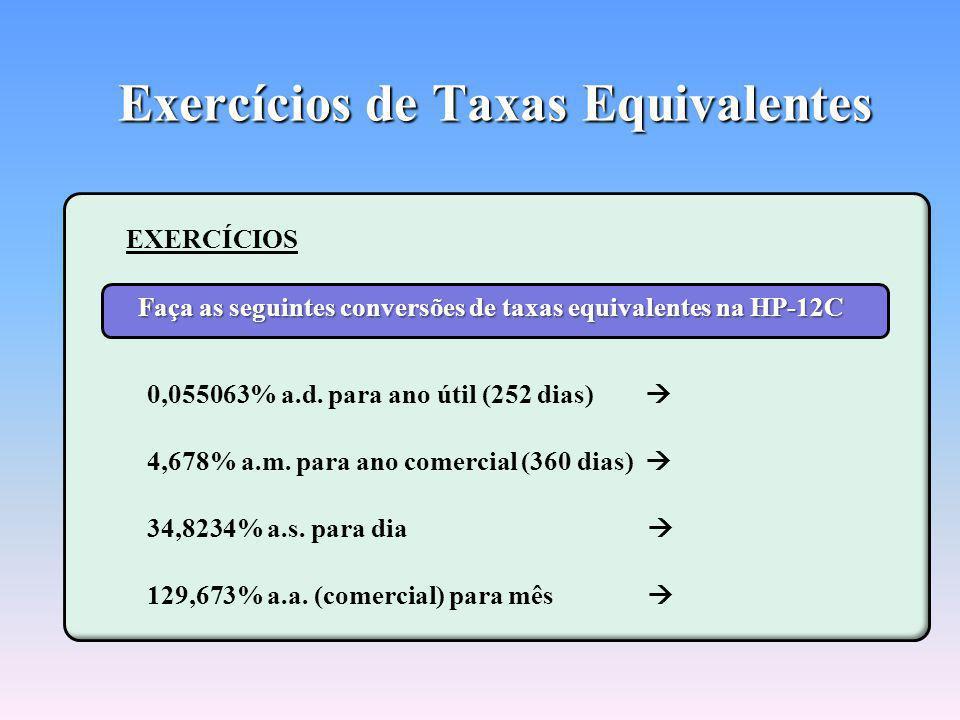 Exercícios de Taxas Equivalentes