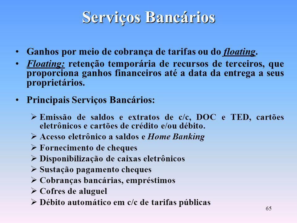 Serviços Bancários Ganhos por meio de cobrança de tarifas ou do floating.