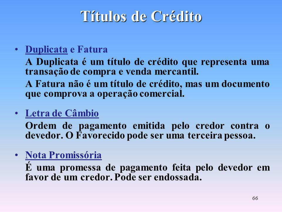 Títulos de Crédito Duplicata e Fatura