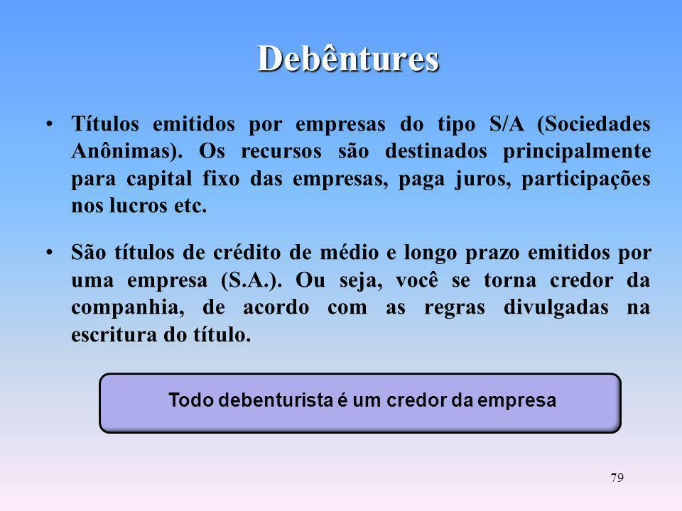 Todo debenturista é um credor da empresa