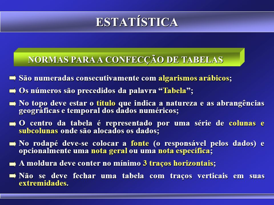 NORMAS PARA A CONFECÇÃO DE TABELAS