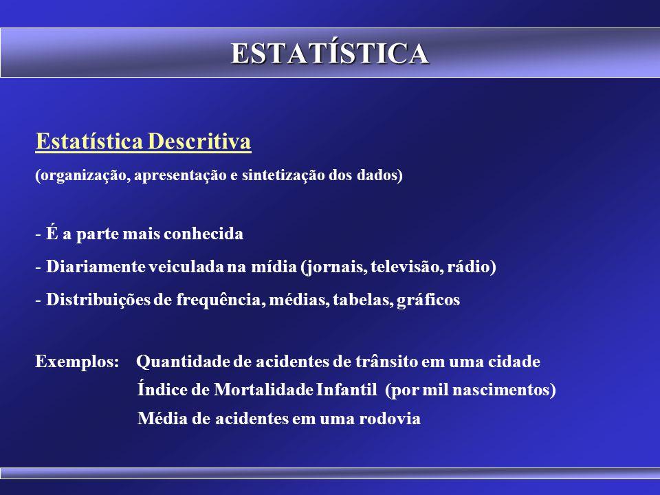 ESTATÍSTICA Estatística Descritiva É a parte mais conhecida