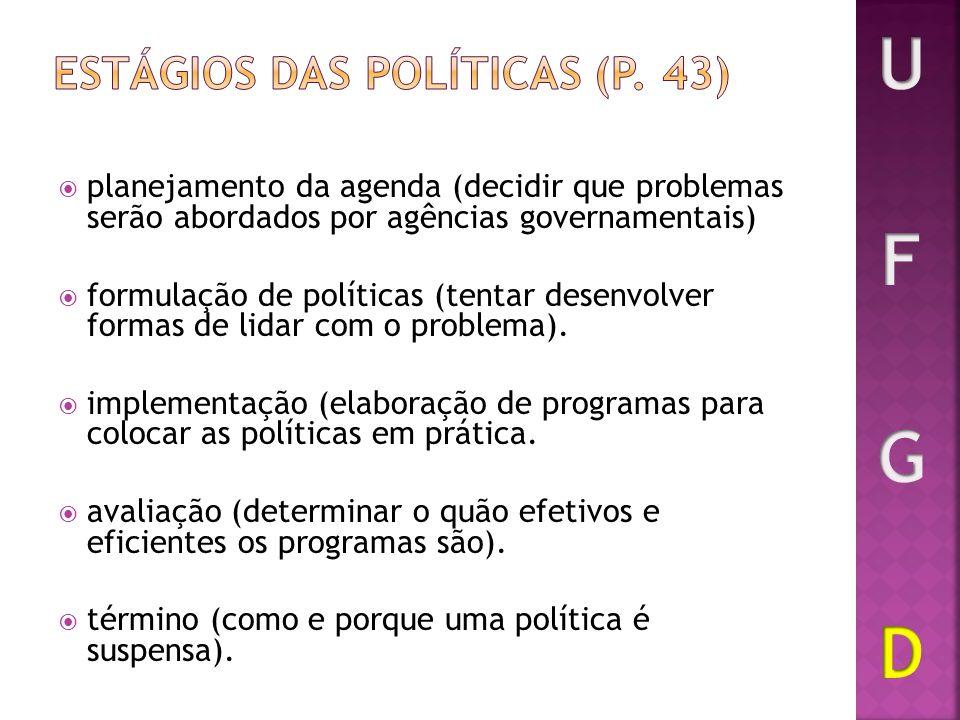 Estágios das políticas (p. 43)