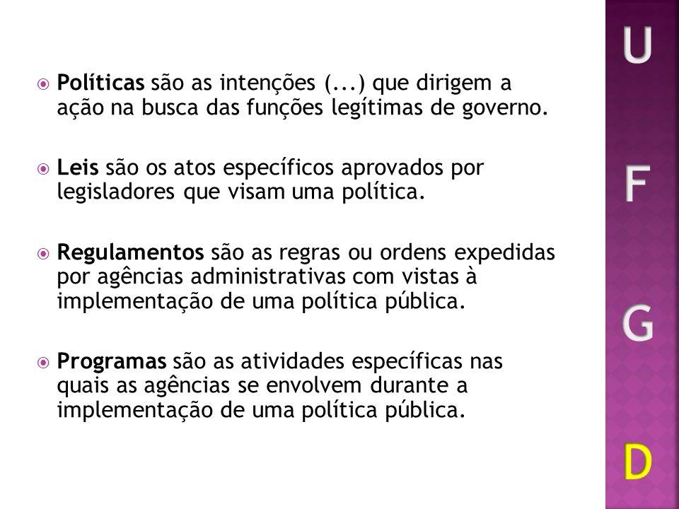 U F G D Políticas são as intenções (...) que dirigem a ação na busca das funções legítimas de governo.