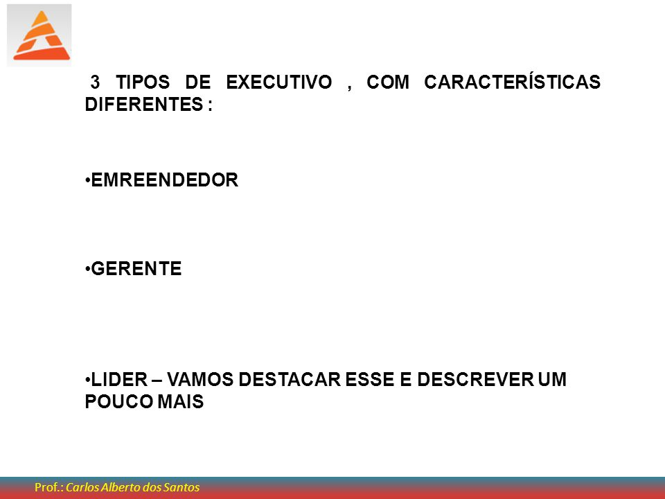 3 TIPOS DE EXECUTIVO , COM CARACTERÍSTICAS DIFERENTES :
