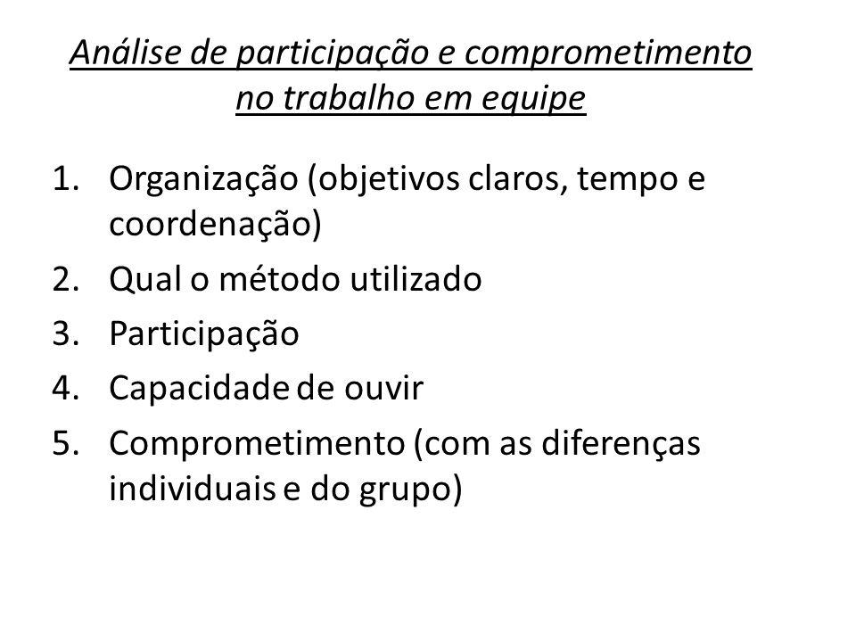 Análise de participação e comprometimento no trabalho em equipe
