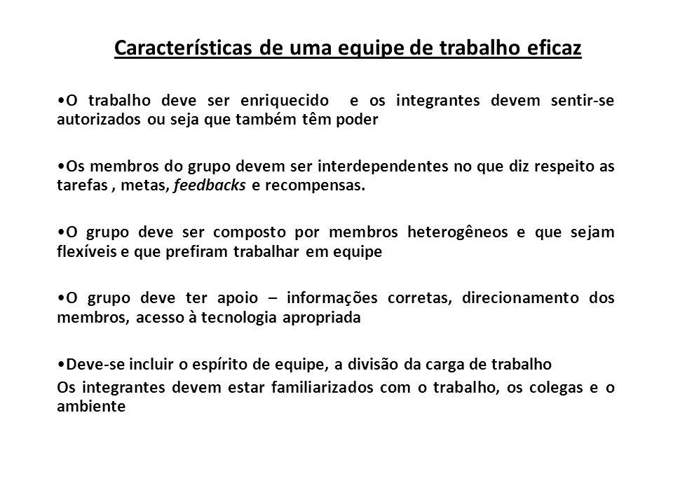Características de uma equipe de trabalho eficaz