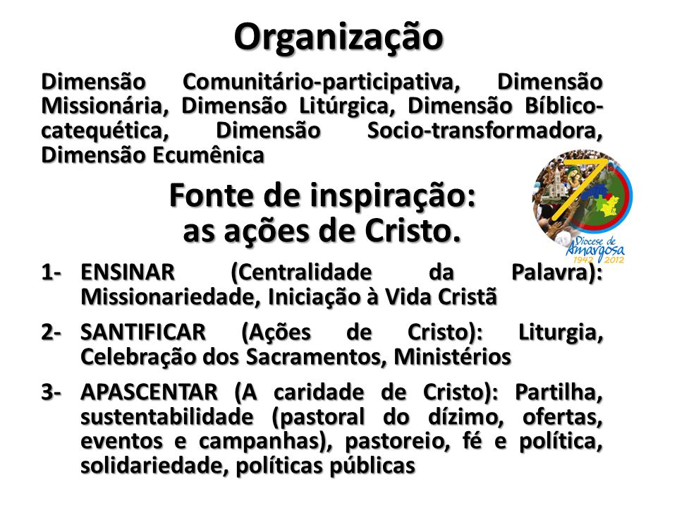 Organização Fonte de inspiração: as ações de Cristo.