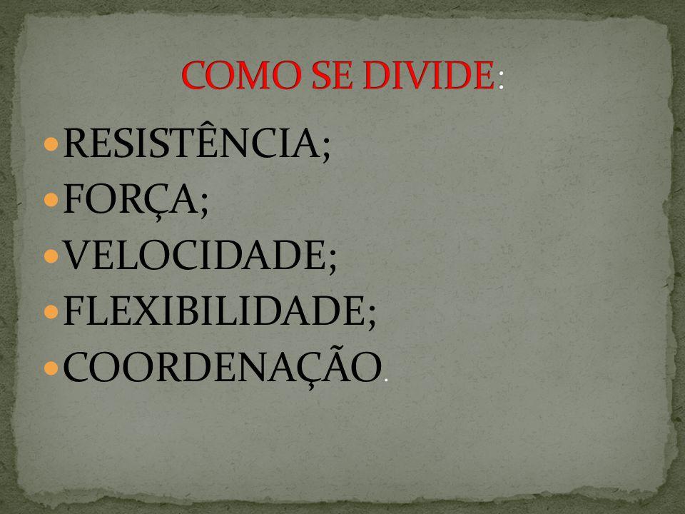 RESISTÊNCIA; FORÇA; VELOCIDADE; FLEXIBILIDADE; COORDENAÇÃO.