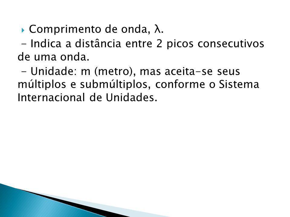 Comprimento de onda, λ. - Indica a distância entre 2 picos consecutivos de uma onda.