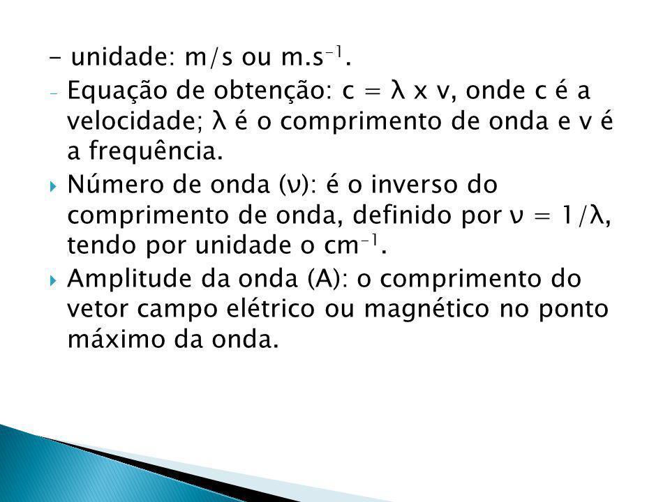 - unidade: m/s ou m.s-1. Equação de obtenção: c = λ x v, onde c é a velocidade; λ é o comprimento de onda e v é a frequência.
