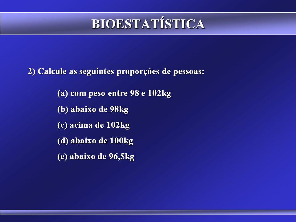BIOESTATÍSTICA 2) Calcule as seguintes proporções de pessoas: