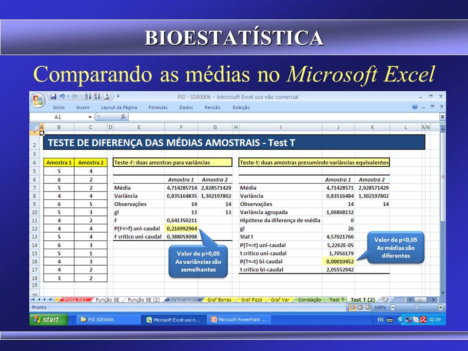 Comparando as médias no Microsoft Excel