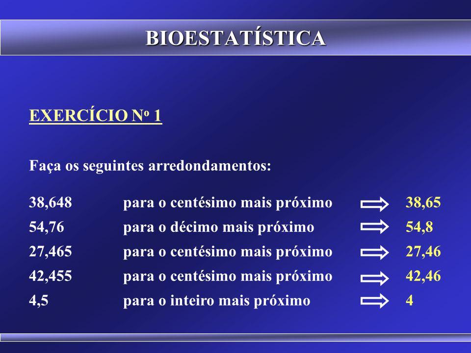 BIOESTATÍSTICA EXERCÍCIO No 1 Faça os seguintes arredondamentos: