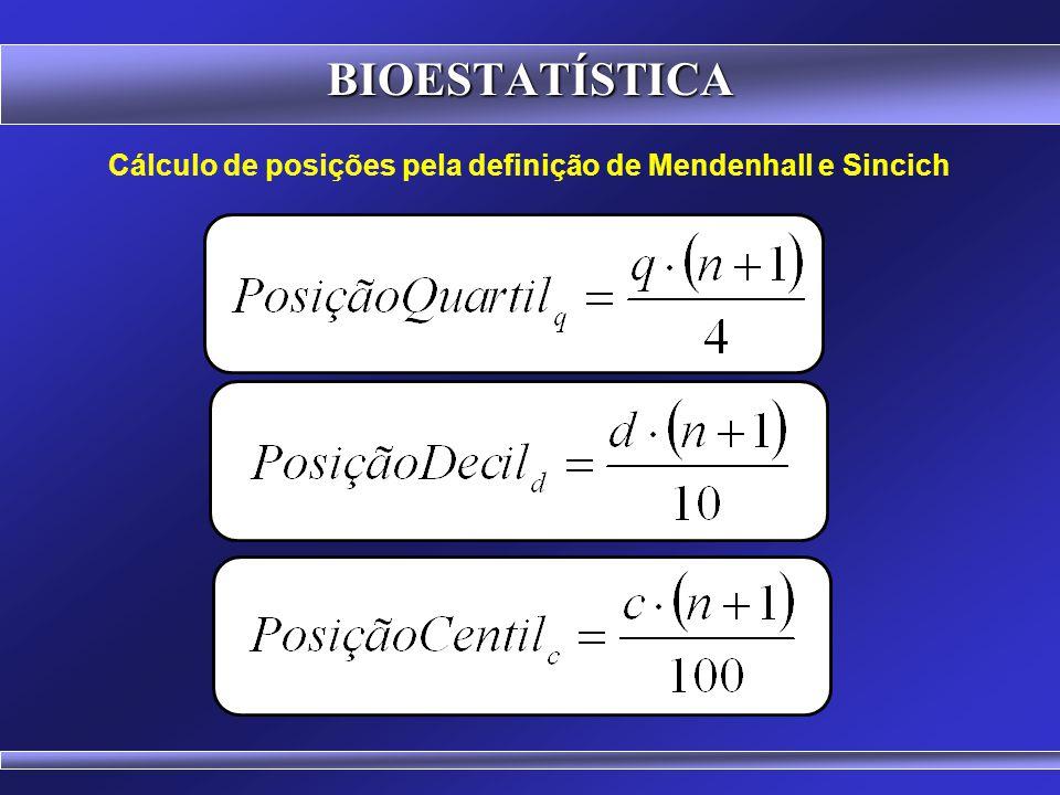 Cálculo de posições pela definição de Mendenhall e Sincich