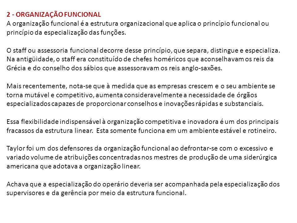 2 - ORGANIZAÇÃO FUNCIONAL A organização funcional é a estrutura organizacional que aplica o princípio funcional ou princípio da especialização das funções.