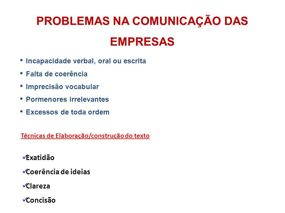 PROBLEMAS NA COMUNICAÇÃO DAS EMPRESAS