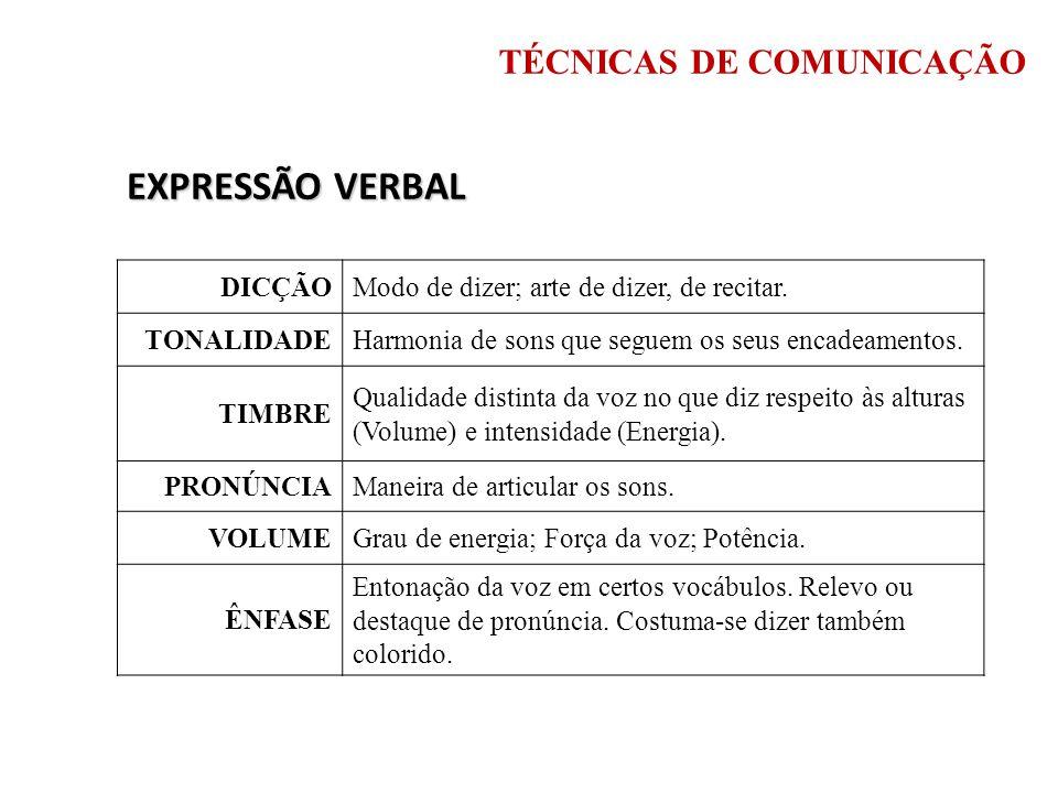 EXPRESSÃO VERBAL TÉCNICAS DE COMUNICAÇÃO DICÇÃO