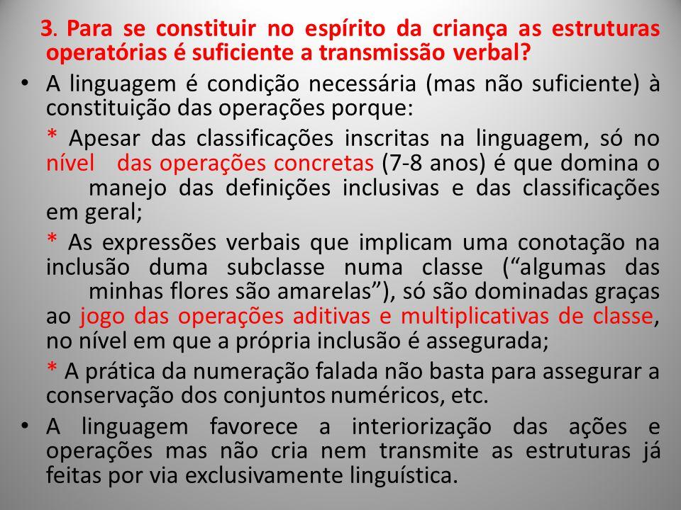 3. Para se constituir no espírito da criança as estruturas operatórias é suficiente a transmissão verbal