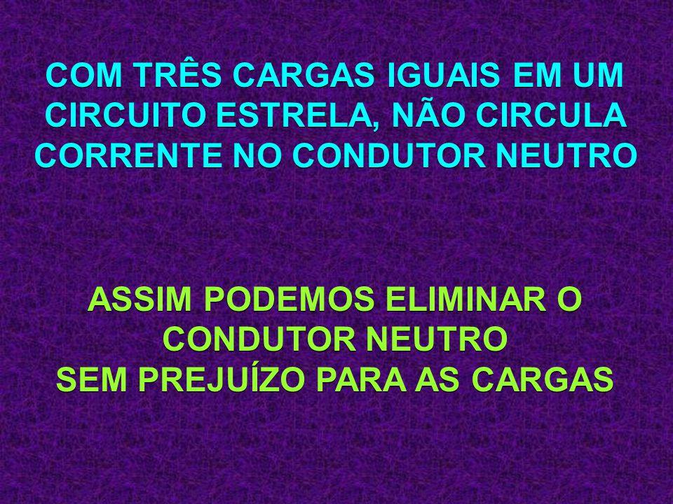 COM TRÊS CARGAS IGUAIS EM UM CIRCUITO ESTRELA, NÃO CIRCULA