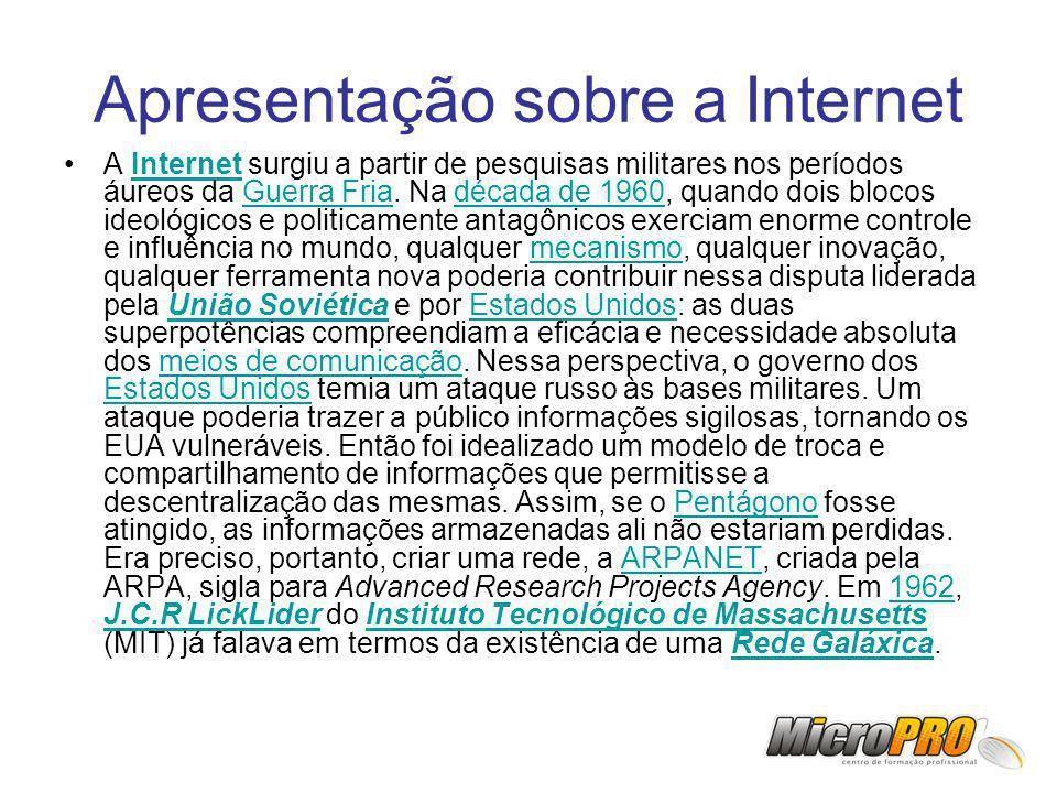 Apresentação sobre a Internet