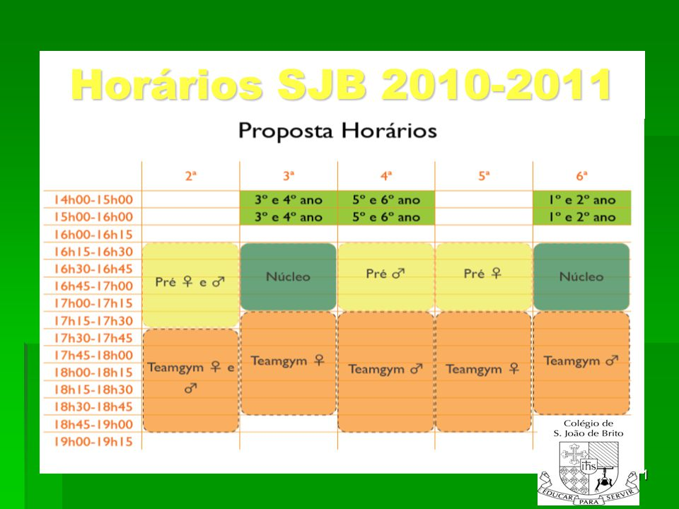 Horários SJB 2010-2011