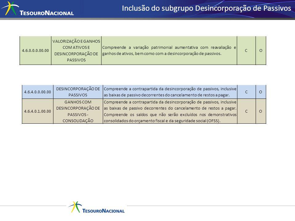 Inclusão do subgrupo Desincorporação de Passivos