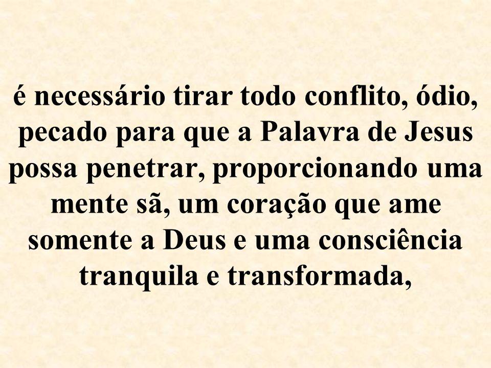 é necessário tirar todo conflito, ódio, pecado para que a Palavra de Jesus possa penetrar, proporcionando uma mente sã, um coração que ame somente a Deus e uma consciência tranquila e transformada,
