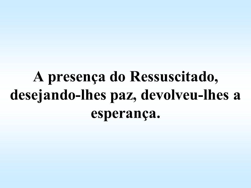 A presença do Ressuscitado, desejando-lhes paz, devolveu-lhes a esperança.
