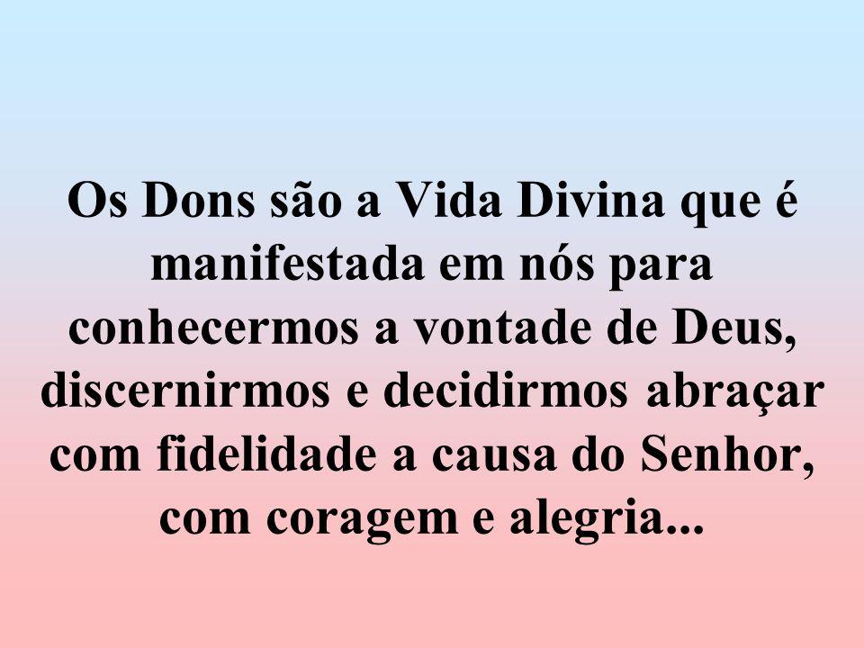 Os Dons são a Vida Divina que é manifestada em nós para conhecermos a vontade de Deus, discernirmos e decidirmos abraçar com fidelidade a causa do Senhor, com coragem e alegria...