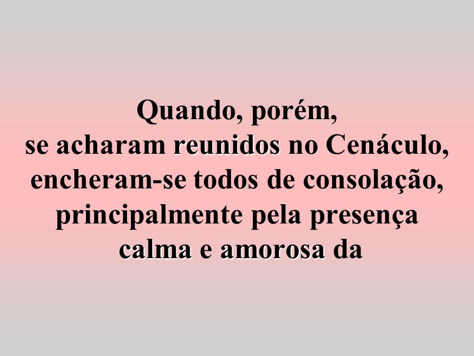 Quando, porém, se acharam reunidos no Cenáculo, encheram-se todos de consolação, principalmente pela presença calma e amorosa da