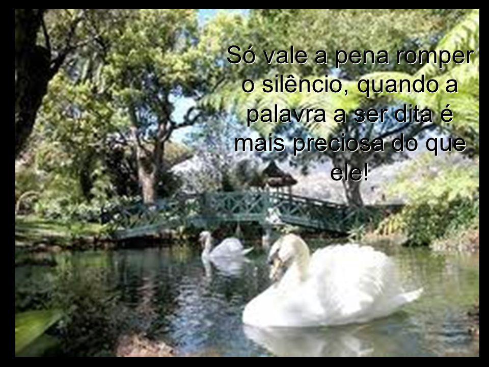 Só vale a pena romper o silêncio, quando a palavra a ser dita é mais preciosa do que ele!