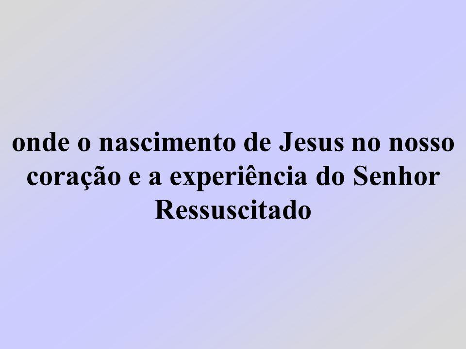 onde o nascimento de Jesus no nosso coração e a experiência do Senhor Ressuscitado