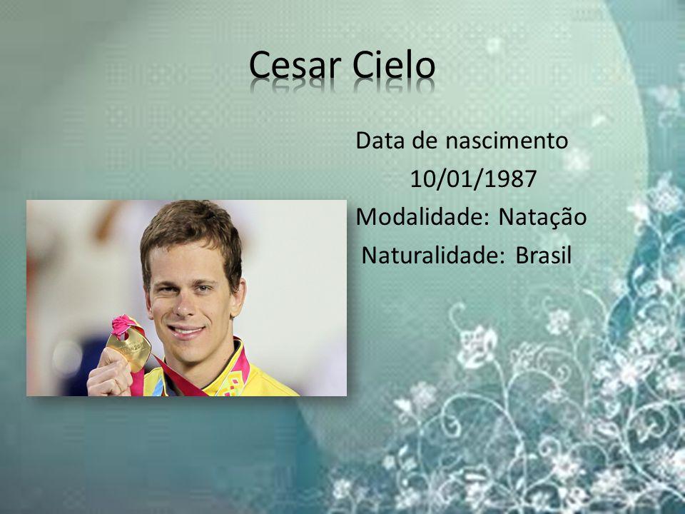 Cesar Cielo Data de nascimento 10/01/1987 Modalidade: Natação Naturalidade: Brasil